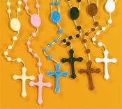 Cheap Plastic rosary Catholic cord rosaries on cord inexpensive kids rosary- colors, Luminous, Glow in the Dark, Black, Brown, White, Black, Brown, Red, Green - poly bag, school, teachers class packs