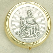 ROSARY CASE Silver Plated top Striking Pieta Gold Base -2 1/4""