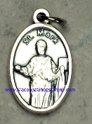 "St Mark Silver Oxidized Saint Mark Medal 1"" oval Italy"