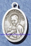 "St Paul of the Cross Silver Plated 1"" oval charm made in Italy"