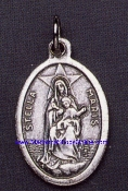 "Stella Maris Silver Oxidized Our Lady Of The Sea Medal 1"" oval"
