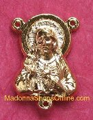 Gold Plated Vintage Sacred Heart Of Jesus Rosary Center 2.0cm