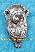 Spectacular Praying Madonna/SHJ 2.1cm Silver Rosary Centers