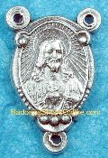 Sacred Heart of Jesus/Madonna 1.7cm Silver Rosary Centers