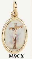 "Crucifix Medal Gold Plated Color Picture 7/8"" oval Italy"