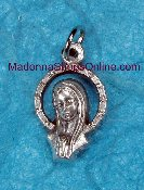 TINY Elegant Praying Madonna Cut out Charm SHJ on Back 1.6cm
