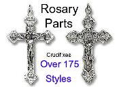 Inexpensive Rosary parts for making Rosary Crucifixes-Silver Oxidized Gold plated Parts for making rosaries-Large selection over 200 styles 39¢ to $2.99 Most Under $1.50- Base medal - Imported from Italy