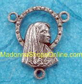 Madonna Silver Oxidized Rosary Center 1.7cm Rosary Centers