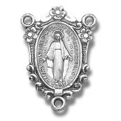 Rosary Centerpieces 100% Sterling Silver Three-loop, rosary parts, rosary supplies-Our Deluxe Centers are known for the most Beautiful intricate designs made of only the finest materials available. High end Silver