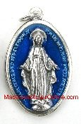 Enamel Royal Blue Epoxy Miraculous Medal Large 1 1/8""