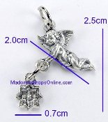 Small Flying Angel Medal holding a Tiny Charm made in Italy Buy Direct and Save Inexpensive Catholic Medals Silver Oxidized Great for Small rosaries or for Bracelets Rosary parts and Bracelet parts
