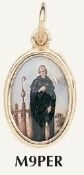 "Saint Peregrine Medal Gold Plated Color Picture 7/8"" oval Italy"