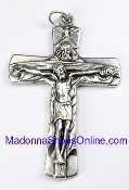 "Heirloom Holy Trinity Silver Oxidized Crucifix 1 1/4 x 15/16"" Italy"