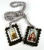 "Our Strongest Brown Scapular EXTRA STRONG Imported Italy-Catholic Brown Scapular Small EXTRA STRONG SCAPULAR with Image 1""x 7/8"" Sacred heart of Jesus Our Lday of Mt Carmel"