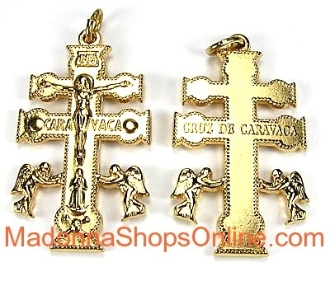Exquisite Caravaca Cross Our Deluxe Crucifixes are known for the most Beautiful intricate designs for Charms, Necklace-Includes jump ring-Pendant-Italy-Cruz De Cavavaca- Crucifix to make rosaries Catholic Cross Cross GOLD PLATED metal-ITALY-LARGE