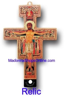 Our San Damiano are known for the most beautiful intricate designs Made in Italy Largest selection Franciscan Crosses- San Damiano Cross With 3rd Class Relic Gold Stamped made in Italy