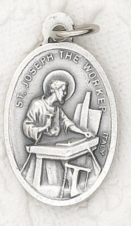 "St Joseph the Worker/Carpenter Silver oxidized Medal 1"" Italy"