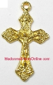 "Dazzling Gold Crucifix Cross 1"" x 5/8"" Rosary Bracelet Parts"