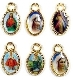 TINY 50 pcs Mixed Catholic Charms GOLD Oval 1.1cm Saints vary