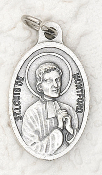"Louis De Montford Silver Oxidized Saint Louis De Montford Medal-Inexpensive St. Louis De Montford Silver Oxidized Medal Styles may vary Our Catholic medals are Made in Italy-Bulk-Oval 1""-"