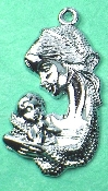 "Madonna and Child Silver Plated Medal 1 1 /4"" Made in Italy"
