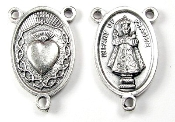 "Crown of Thorns IOP Infant of prague Silver Oxidized Rosary Centerpieces 1"" Rosary Parts"