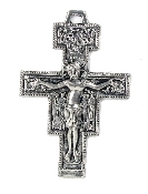 "Catholic religious San Damiano Crucifix Cross 1 3/8"" Antique Silver Finish Metal"