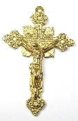 "Ornate Vintage Style Crucifix Gold Antique 1 3/4"" Rosary Parts"