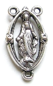 "Lady of Grace Antique silver Rosary Center Piece 7/8"" Cut-Out"