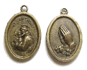 As Low As $0.49 Each BRONZE FINISH St Anthony/Praying Hands Holy Medal 1""