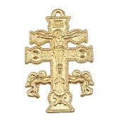 "Beautiful Caravaca Cross Gold finish 1 1/2"" Rosary Parts"