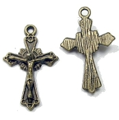 Tiny Striking Bronze Finish Crucifix Cross Bracelet Parts 1.9cm