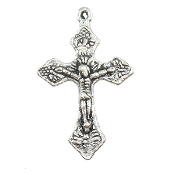 "Tiny Silver Antique Crucifix 7/8""x 5/8"" Bracelet Part"