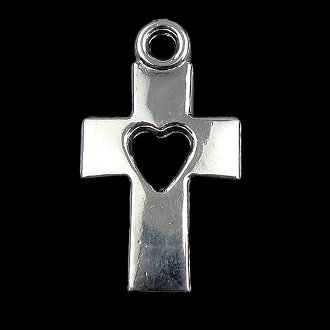TINY Heart Cross Charm Silver Plated 1.5x1.0cm Pendant