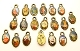 TINY 50 pcs Mixed Catholic Charms BRONZE Oval 1.1cm Saints vary