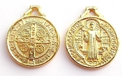 "Saint Benedict Jubilee Gold Plated Medal charm 3/4"" ROUND"