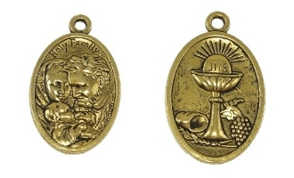 "Chalice/Holy Family medal ANTIQUE GOLD 1"" oval Communion"