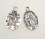 Tiny Miraculous Medal DELUXE SILVER ANTIQUE FINISH Oval 1.4cm