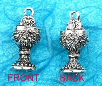 IHS Communion Chalice Pendant Charm Silver Antique11/16""