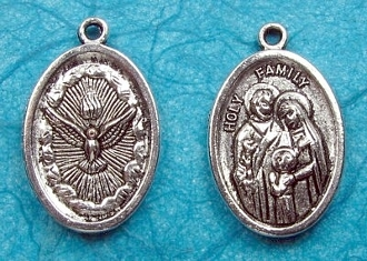"Silver Antique Holy Spirit/Holy Family Medal 1"" oval Italy"