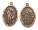 "St Francis Assisi Pet Christian medal COPPER 1"" oval PRAY FOR US"
