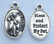 POLISHED CHROME finish St Francis Bless and Protect my Pet 1""