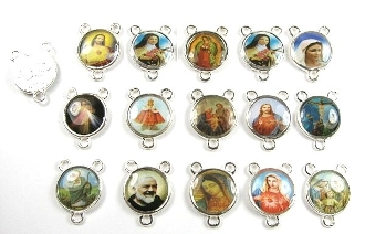 Tiny Color Picture MIXED 15pc Silver Rosary Centerpieces 9/16""