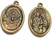"10/Pc Holy Spirit/Holy Family Medal Antique Gold Charm 1"" oval-Great for Confirmation Holy Spirit and Holy Family Medal-Inexpensive Holy Spirit and Holy Family Medal Oval 1"" Catholic medals Made in Italy-Saints Medallions-Charms-Jewelry-"