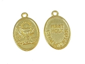 "Gold Plated Holy Blessed Sacrament Chalice 7/8"" oval medal FIRST HOLY COMMUNION wording on back side FIRST HOLY COMMUNION-Measurement does not include eyelet"
