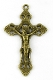 "Bronze Crucifix 2"" x 1 1/4"" Rosary Parts or Necklace Jesus As Low As $0.75 Each wholesale Catholic crucifixes"