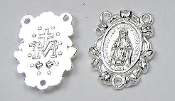 Ornate Miraculous Rosary Center Brilliant Silver Plated 3/4""