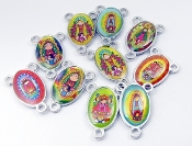 Assorted Rosary Centers Epoxy Color Picture Silver Plated