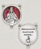 "Deluxe Vintage Red enamel SHJ Centerpiece 3/4"" Rosary Parts Verse on back Rosary Centers"