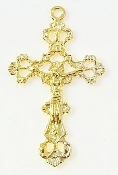 "Sea of Galilee Crucifix Gold finish Cut-out Cross 1 3/8"" x 1"""